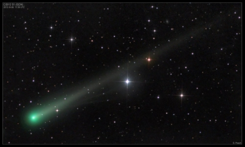 Comet ISON and its New Ion Tail