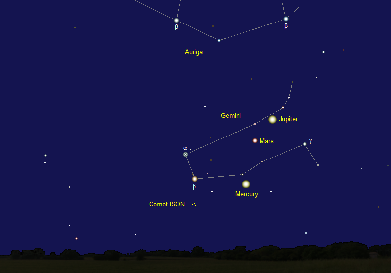 Comet ISON's Position in Early August