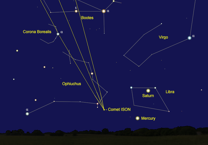 Comet ISON's Position in Early December