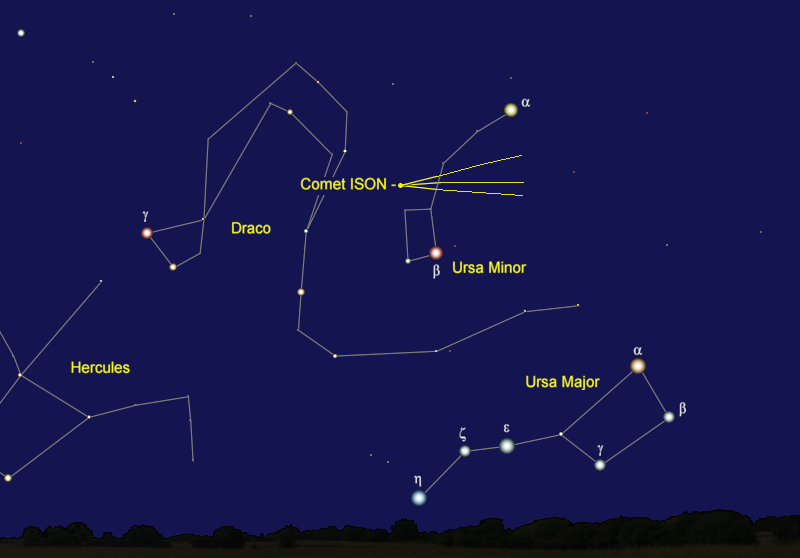 Comet ISON's Position in Early January