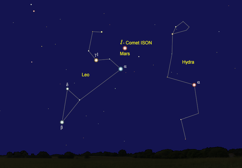 Comet ISON's Position in Early October