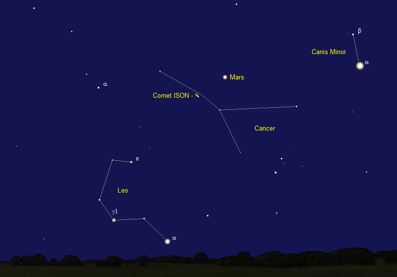 Comet ISON's Position in Early September