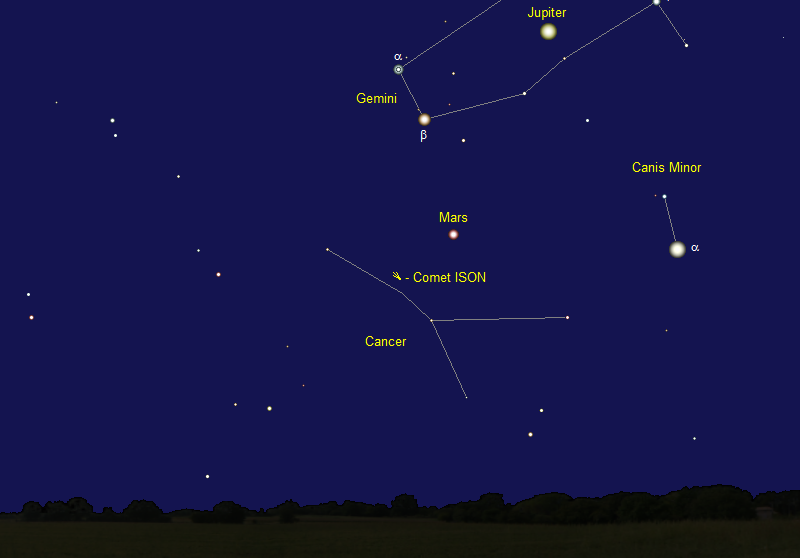 Comet ISON's Position in Late August