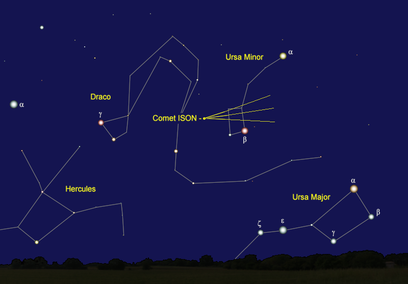 Comet ISON's Position in Late December