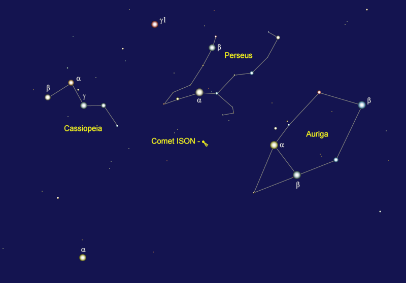 Comet ISON's Position in Late January