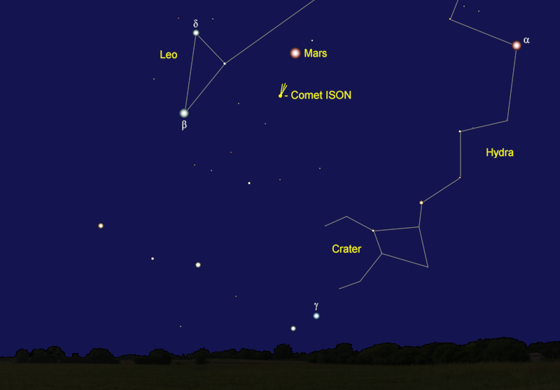 Comet ISON's Position in Late October