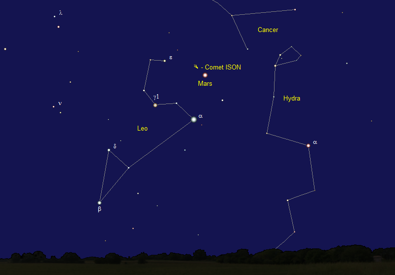 Comet ISON's Position in Late September