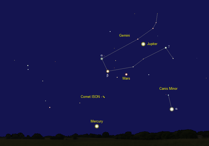 Comet ISON's Position in Mid-August