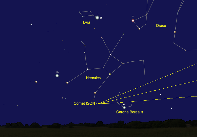 Comet ISON's Position in Mid-December