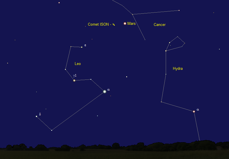 Comet ISON's Position in mid-September